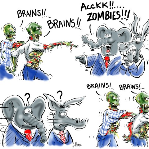 Zombies and Politicians Cartoon